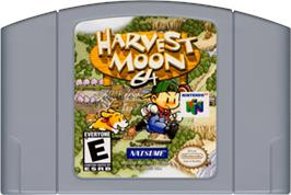 Cartridge artwork for Harvest Moon 64 on the Nintendo N64.