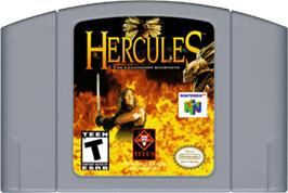 Cartridge artwork for Hercules: The Legendary Journeys on the Nintendo N64.