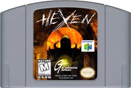 Cartridge artwork for Hexen on the Nintendo N64.