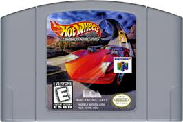 Cartridge artwork for Hot Wheels: Turbo Racing on the Nintendo N64.