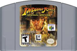 Cartridge artwork for Indiana Jones and the Infernal Machine on the Nintendo N64.