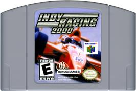 Cartridge artwork for Indy Racing 2000 on the Nintendo N64.