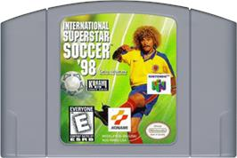 Cartridge artwork for International Superstar Soccer '98 on the Nintendo N64.