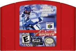 Cartridge artwork for Jeremy McGrath Supercross 2000 on the Nintendo N64.