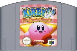 Cartridge artwork for Kirby 64: The Crystal Shards on the Nintendo N64.