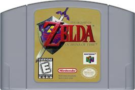 Cartridge artwork for Legend of Zelda: Ocarina of Time on the Nintendo N64.