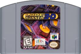 Cartridge artwork for Lode Runner 3D on the Nintendo N64.