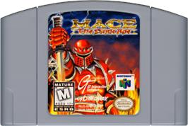 Cartridge artwork for Mace: The Dark Age on the Nintendo N64.