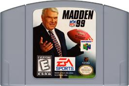 Cartridge artwork for Madden NFL '99 on the Nintendo N64.