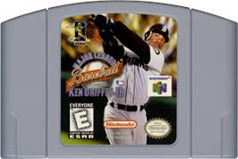 Cartridge artwork for Major League Baseball Featuring Ken Griffey Jr on the Nintendo N64.