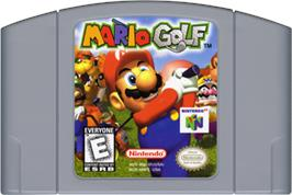 Cartridge artwork for Mario Golf on the Nintendo N64.