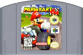 Cartridge artwork for Mario Kart 64 on the Nintendo N64.