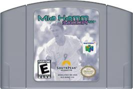 Cartridge artwork for Mia Hamm Soccer 64 on the Nintendo N64.