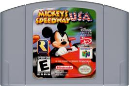 Cartridge artwork for Mickey's Speedway USA on the Nintendo N64.