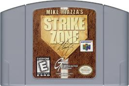 Cartridge artwork for Mike Piazza's StrikeZone on the Nintendo N64.