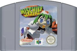 Cartridge artwork for Mischief Makers on the Nintendo N64.