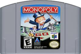 Cartridge artwork for Monopoly on the Nintendo N64.