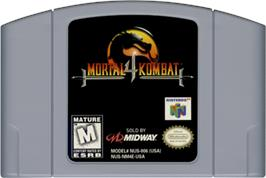 Cartridge artwork for Mortal Kombat 4 on the Nintendo N64.