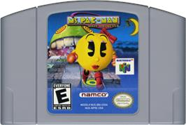 Cartridge artwork for Ms. Pac-Man Maze Madness on the Nintendo N64.