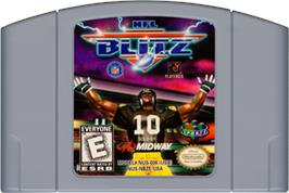 Cartridge artwork for NFL Blitz on the Nintendo N64.