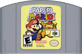 Cartridge artwork for Paper Mario on the Nintendo N64.