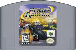 Cartridge artwork for Penny Racers on the Nintendo N64.