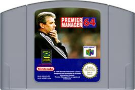 Cartridge artwork for Premier Manager 64 on the Nintendo N64.