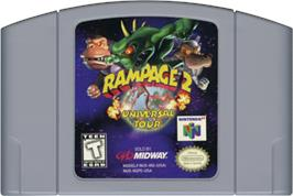 Cartridge artwork for Rampage: Universal Tour on the Nintendo N64.