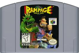 Cartridge artwork for Rampage: World Tour on the Nintendo N64.