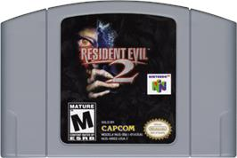 Cartridge artwork for Resident Evil 2 on the Nintendo N64.