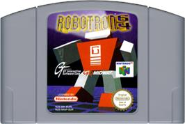 Cartridge artwork for Robotron 64 on the Nintendo N64.
