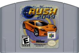 Cartridge artwork for San Francisco Rush 2049 on the Nintendo N64.