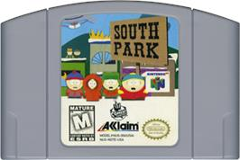 Cartridge artwork for South Park: Chef's Luv Shack on the Nintendo N64.