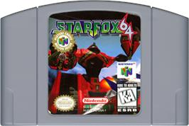 Cartridge artwork for Star Fox 64 on the Nintendo N64.