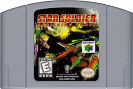 Cartridge artwork for Star Soldier: Vanishing Earth on the Nintendo N64.