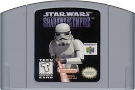 Cartridge artwork for Star Wars: Shadows of the Empire on the Nintendo N64.