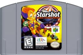 Cartridge artwork for Starshot: Space Circus Fever on the Nintendo N64.
