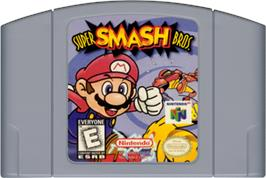 Cartridge artwork for Super Smash Bros. on the Nintendo N64.