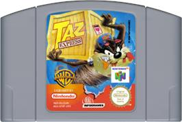 Cartridge artwork for Taz Express on the Nintendo N64.