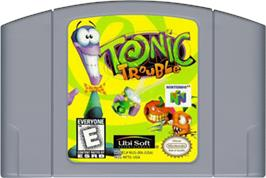 Cartridge artwork for Tonic Trouble on the Nintendo N64.