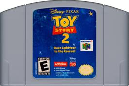 Cartridge artwork for Toy Story 2: Buzz Lightyear to the Rescue on the Nintendo N64.