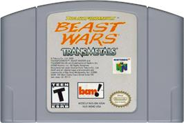 Cartridge artwork for Transformers: Beast Wars Transmetals on the Nintendo N64.