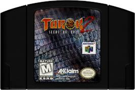 Cartridge artwork for Turok 2: Seeds of Evil on the Nintendo N64.