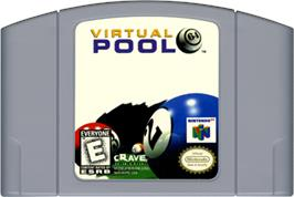 Cartridge artwork for Virtual Pool 64 on the Nintendo N64.