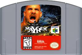 Cartridge artwork for WCW Mayhem on the Nintendo N64.