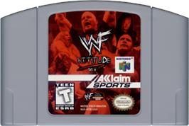 Cartridge artwork for WWF Attitude on the Nintendo N64.