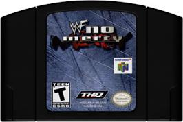 Cartridge artwork for WWF No Mercy on the Nintendo N64.