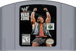 Cartridge artwork for WWF War Zone on the Nintendo N64.