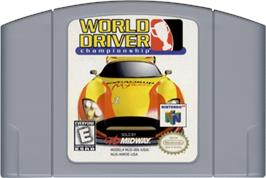 Cartridge artwork for World Driver Championship on the Nintendo N64.