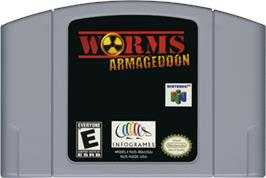 Cartridge artwork for Worms Armageddon on the Nintendo N64.